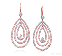 Ziva Diamond Drop Earrings in Rose Gold