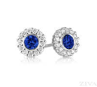 Ziva Sapphire Earrings with Diamond Halo