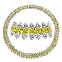 67.65 Ct Fancy Yellow & White Diamond Necklace (rd 31.22ct, Fy 36.43ct)