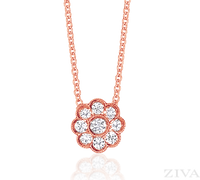 Ziva Flower Diamond Pendant in Rose Gold