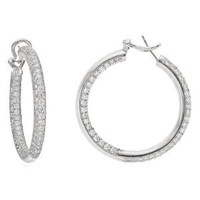 4.50ct 14k W/g Diamond Hoop Pave Earring Inside Out