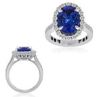 6.46 Ct Tanzanite & Diamond Ring (rd 0.91ct, Tz 5.55ct)