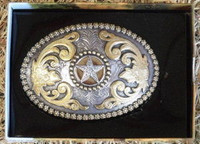 Nocona Berry Edge/Star Western Belt Buckle