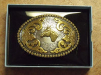Nocona Berry Edge/Horse Head Western Belt Buckle