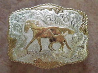 Crumrine Mare And Foal Western Belt Buckle