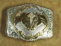 Crumrine Faithful Horses Western Belt Buckle