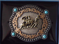 Nocona Turqouise Team Roper Belt Buckle