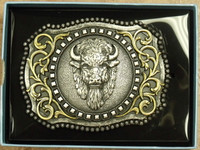 Nocona Scrolled Buffalo Head Belt Buckle