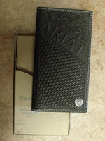Ariat Logo Chocolate Leather Rodeo Wallet/Checkbook