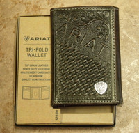 Ariat Logo Chocolate Leather Trifod Wallet
