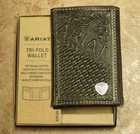 0da6c95a165 Ariat Logo Chocolate Leather Trifod Wallet