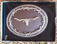Nocona Barbed Wire/Longhorn Belt Buckle