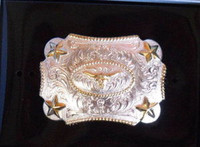 Nocona Kid Size G/S Longhorn Belt Buckle