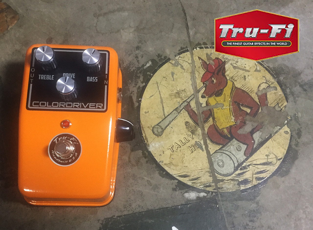 Tru-Fi Pedals Colordriver guitar pedal comparied in size to a Boss Pedal
