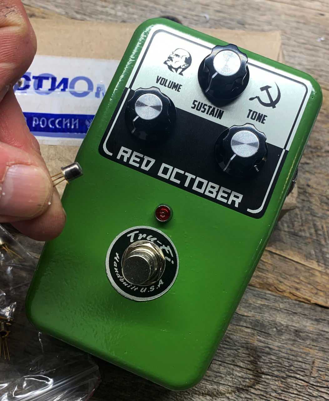 Tru-Fi Red October Fuzz Guitar Pedal a take of the Civil War and Red Army Muff Pedals of the late 80s