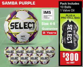 SAMBA WHT/PURPLE (IMS) BALL PACK [From: $300.00]