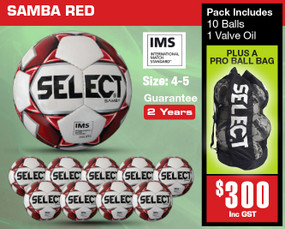 SAMBA WHT/RED (IMS) BALL PACK [From: $300.00]