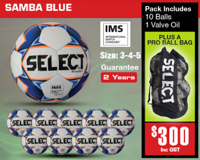 SAMBA WHT/BLUE (IMS) BALL PACK [From: $300.00]