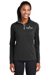 Sport-Tek® Ladies Sport-Wick® Textured 1/4-Zip Pullover (Black)