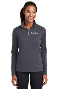 Sport-Tek® Ladies Sport-Wick® Textured 1/4-Zip Pullover (Iron Grey)