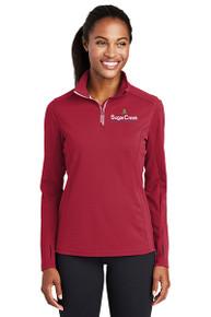 Sport-Tek® Ladies Sport-Wick® Textured 1/4-Zip Pullover (Red)