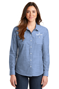 Port Authority® Ladies Slub Chambray Shirt (Blue)