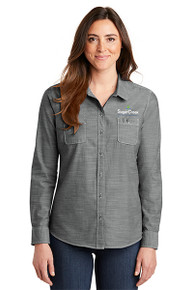 Port Authority® Ladies Slub Chambray Shirt (Grey)