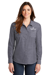 Port Authority® Ladies Slub Chambray Shirt (Navy)