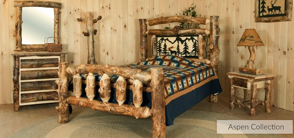 Aspen Rustic Log Bedroom Collection