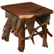 Amish Handcrafted Rustic Walnut Root Base End Table