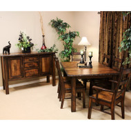 Amish Handcrafted Burnwood Dining Table