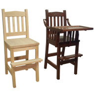 Amish Handcrafted #88 Mission Youth Chair and #89 Mission High Chair