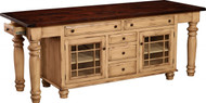 """IS-205    NOTE: Available with glass or wood doors. 2 Doors, 7 Drawers & 2 Adjustable Shelves Width 92"""" Depth 24.5"""" Height 34.5"""""""