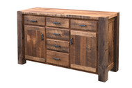 Amish Handcrafted Barnwood Timber Ridge Buffet With Breadboard Doors