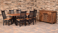 Amish Handcrafted Barnwood Golden Gate Table & Barnwood Mission Chairs
