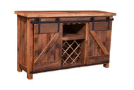 Amish Handcrafted Barnwood Barn Door Wine Server With Goblet Holders