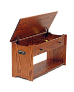Amish Handcrafted Blanket Chest Opened