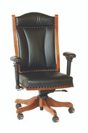 Amish Handcrafted Desk Chair With Adjustable Arms