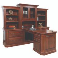 Amish Handcrafted Buckingham Partner Desk & 3-Piece Hutch