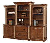 """Amish Handcrafted Jefferson 98"""" Base & 3-Piece Hutch"""