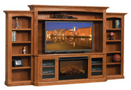 Amish Handcrafted Buckingham Entertainment With Bookcases & Fireplace