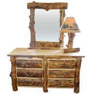 Amish Handcrafted Rocky Mountain Aspen 6 Drawer Dresser With Mirror