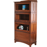 Amish Handcrafted Barrister Mission Stackable 4-Door Bookcase