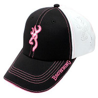 Browning Ladies Chelsie Cap White/Black/Pink-Womens Hat Buckmark (308244511)