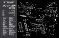 TekMat Sig Sauer SP2022 Gun Cleaning Mat With Exploded Parts View (17SIGSP2022)