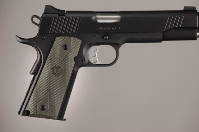 Hogue 1911 Government Model Checkered Grip Panels-OD Green Rubber (45011)