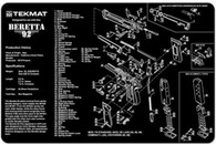 TekMat Beretta 92-M9 Gun Cleaning-Bench Mat With Exploded Parts Schematic (17BER92)
