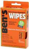 Ben's 30% DEET Insect Repellent Wipes 12 Pack (0006-7085)
