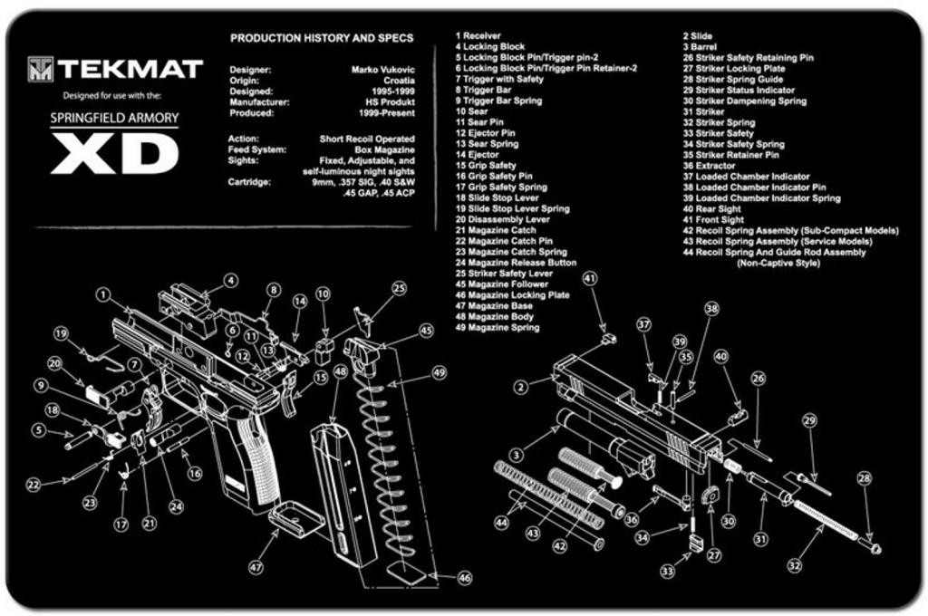 TekMat Springfield Armory XD Gun Cleaning Mat With Exploded Parts Schematic on springfield 9mm schematic, p m schematic, ak-47 schematic, xds schematic, pa-63 schematic, springfield xd schematic, buck knife schematic, glock schematic,