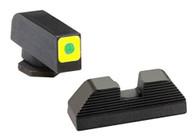 Ameriglo Glock Spaulding Set-Lumi-Green Outline Front/Black Serrated Rear (GL-642)